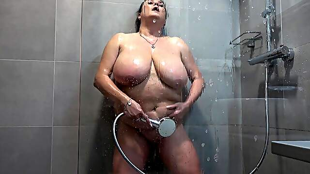 Chubby granny with big natural tits having some alone time
