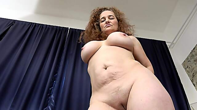 Solo chubby older woman playing with her horny pussy in HD